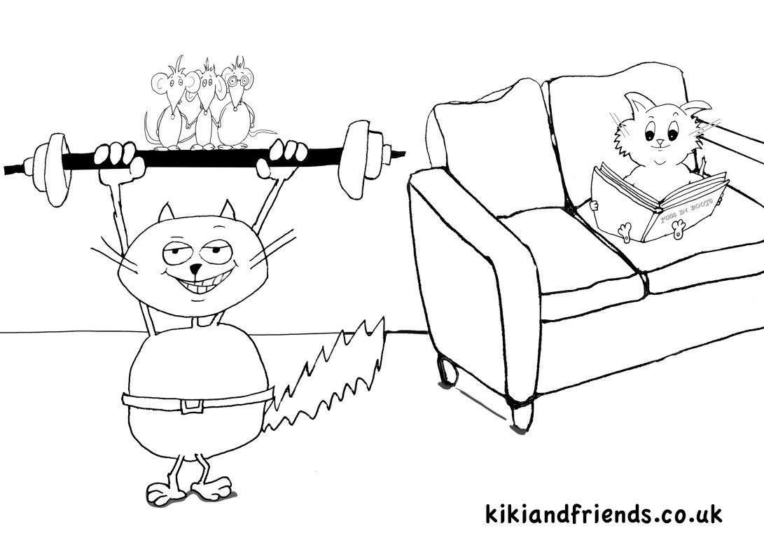 Kiki the Kung Fu Kitten - friends playing colouring in page