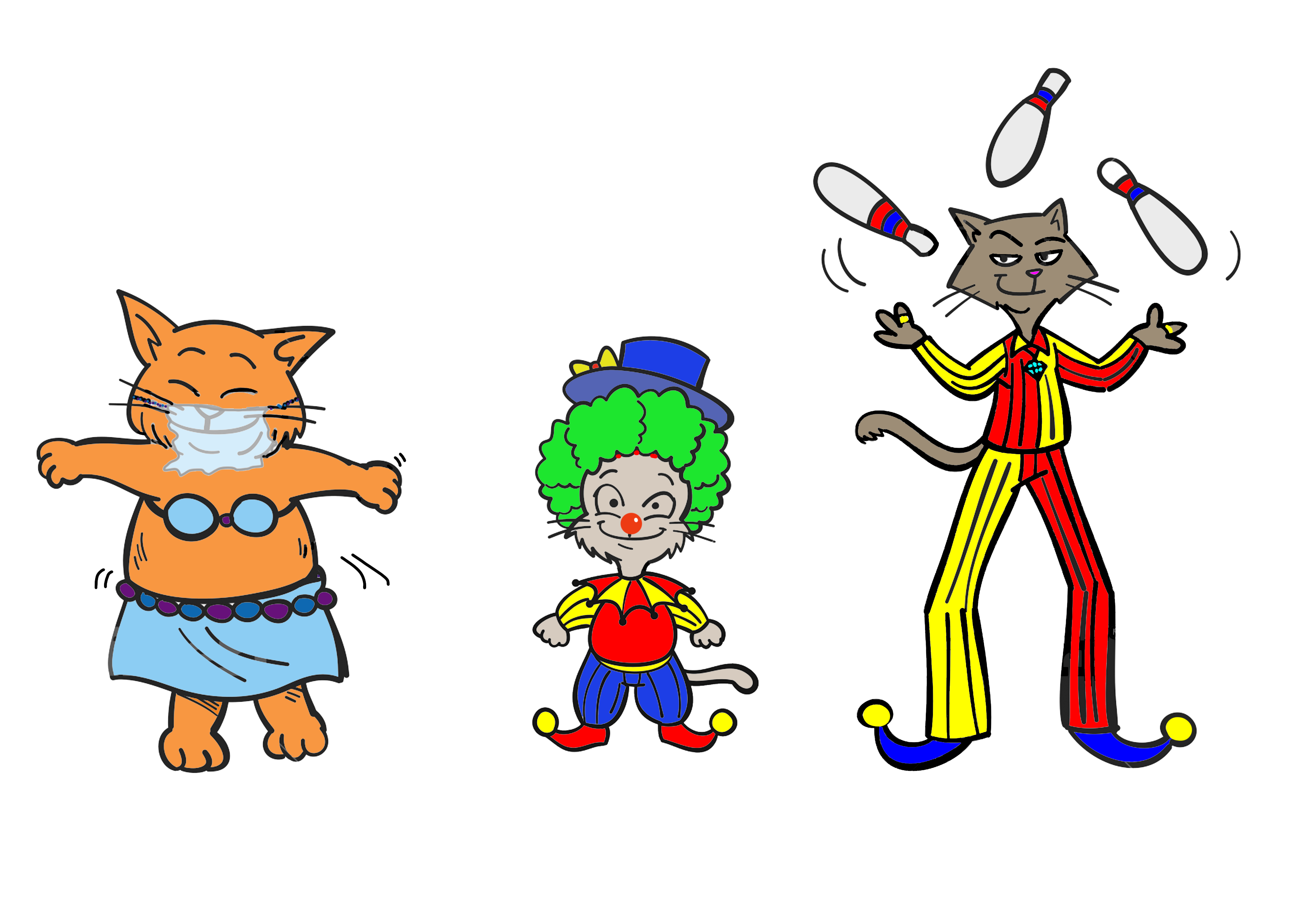Do you recognise Banjo, Kiki and piero in their funny circus disguises? What on earth could they be up to now?