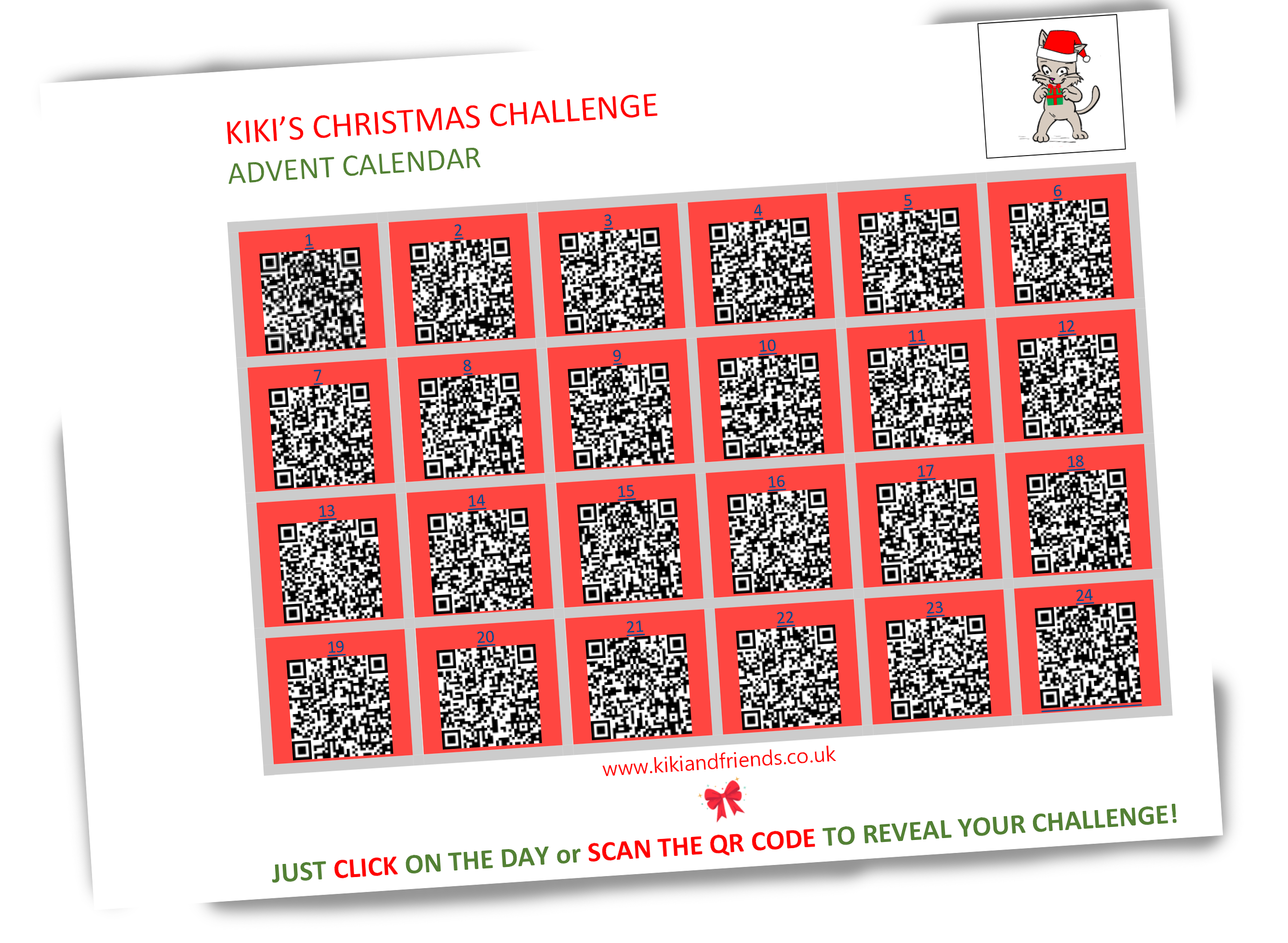 Kiki's FREE Christmas Calendar with QR Codes. Just scan to open up your window of surprise. Definitely more fun than chocolates. And yes, it's free. A little treat after such a strange year.