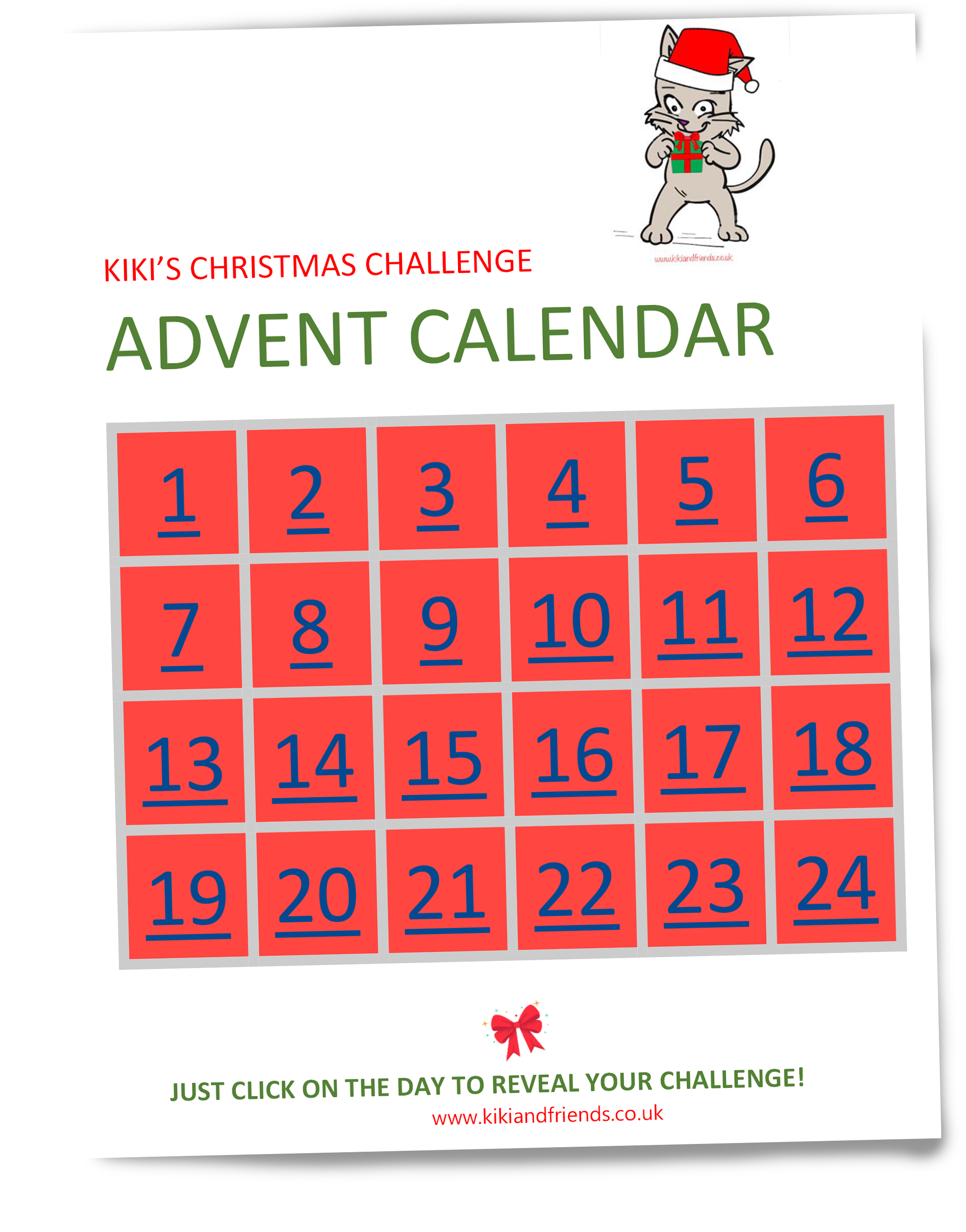 Kiki's Christmas Challenge - Free Advent Calendar packed with fun challenges and activities. Ideal for children under 10... and certainly better than chocolates. Spreading a little joy after a difficult year x